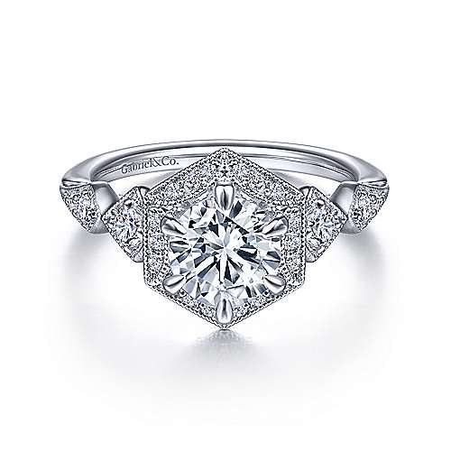 Art Deco 14K White Gold Hexagonal Halo Round Diamond Engagement Ring - designed by Jewelry Designers Gabriel & Co., New York. Passion, Love & You.