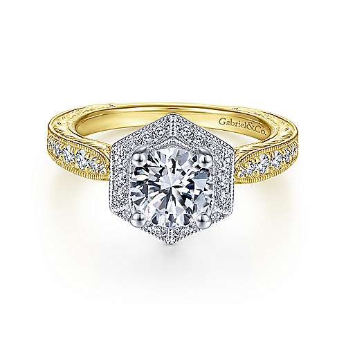 Art Deco 14K White-Yellow Gold Hexagonal Halo Round Diamond Engagement Ring - designed by Jewelry Designers Gabriel & Co., New York. Passion, Love & You.