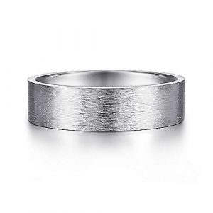14K White Gold 6mm - Brushed Finish Mens Wedding Band - designed by Jewelry Designers Gabriel & Co., New York. Passion, Love & You.