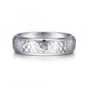 14K White Gold 6mm - Hammered Center and Polished Edge Mens Wedding Band - designed by Jewelry Designers Gabriel & Co., New York. Passion, Love & You.