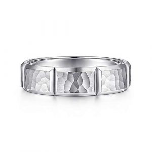 14K White Gold 6mm - Hammered Vertical Diamond Cut Mens Wedding Band - designed by Jewelry Designers Gabriel & Co., New York. Passion, Love & You.