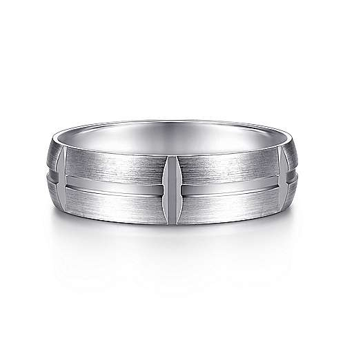 14K White Gold 6mm - Linear Engraved Stations Mens Wedding Band - designed by Jewelry Designers Gabriel & Co., New York. Passion, Love & You.