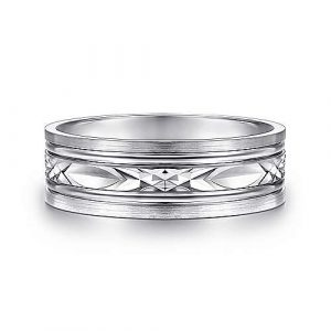 14K White Gold 7mm - Diamond Cut Center Mens Wedding Band - designed by Jewelry Designers Gabriel & Co., New York. Passion, Love & You.