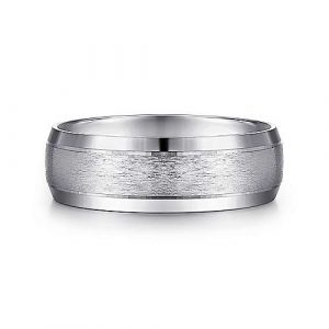 14K White Gold 7mm - Rounded Satin Center and Beveled Edge Mens Wedding Band - designed by Jewelry Designers Gabriel & Co., New York. Passion, Love & You.