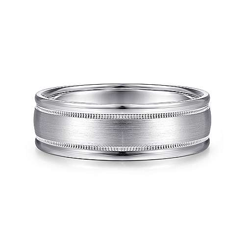 14K White Gold 7mm - Satin Milgrain Channel Polished Edge Mens Wedding Band - designed by Jewelry Designers Gabriel & Co., New York. Passion, Love & You.