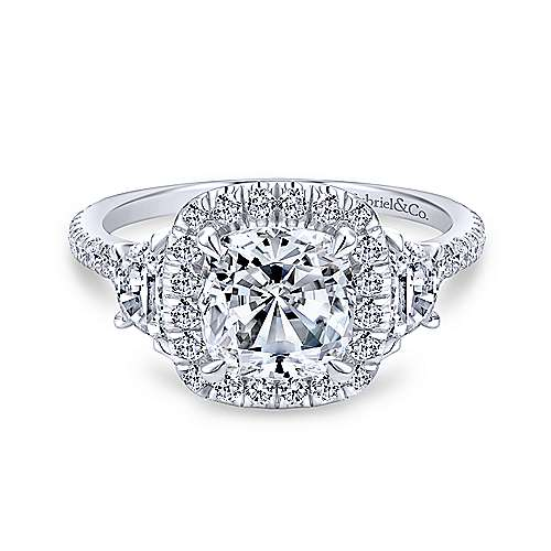 14K White Gold Cushion Three Stone Halo Diamond Engagement Ring - designed by Jewelry Designers Gabriel & Co., New York. Passion, Love & You.
