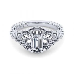 14K White Gold Emerald Cut Diamond Engagement Ring - designed by Jewelry Designers Gabriel & Co., New York. Passion, Love & You.