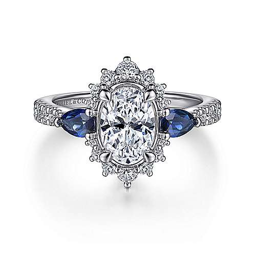 14K White Gold Fancy Three Stone Halo Sapphire and Diamond Engagement Ring - designed by Jewelry Designers Gabriel & Co., New York. Passion, Love & You.