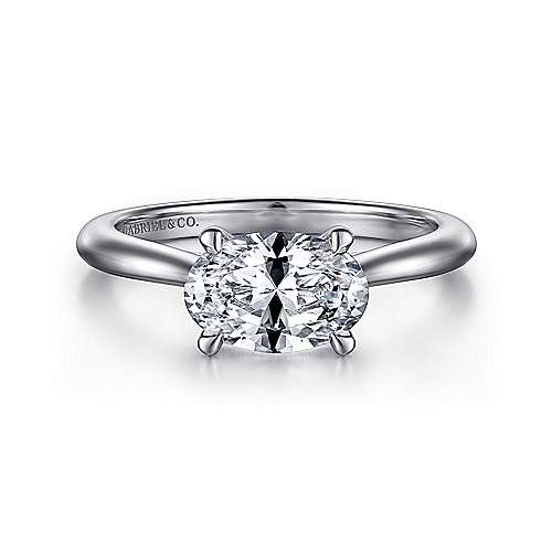 14K White Gold Horizontal Oval Solitaire Engagement Ring - designed by Jewelry Designers Gabriel & Co., New York. Passion, Love & You.