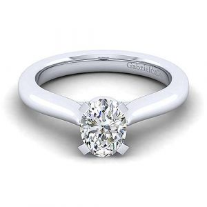 14K White Gold Oval Diamond Engagement Ring - designed by Jewelry Designers Gabriel & Co., New York. Passion, Love & You.