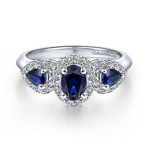 14K White Gold Oval Sapphire and Diamond Engagement Ring - designed by Jewelry Designers Gabriel & Co., New York. Passion, Love & You.