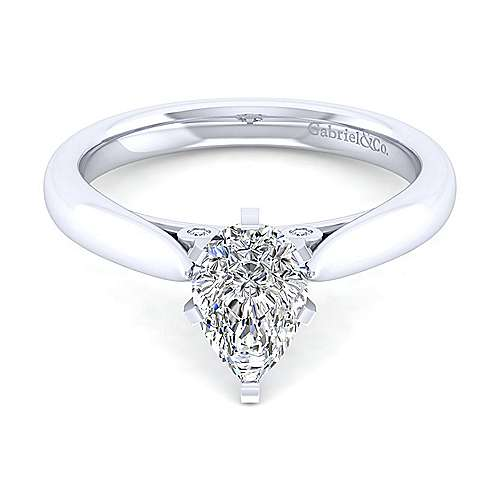 14K White Gold Pear Shape Diamond Engagement Ring - designed by Jewelry Designers Gabriel & Co., New York. Passion, Love & You.