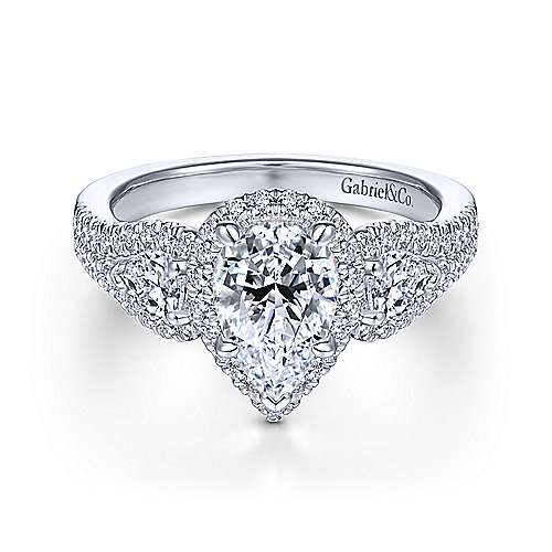 14K White Gold Pear Shape Three Stone Halo Diamond Engagement Ring - designed by Jewelry Designers Gabriel & Co., New York. Passion, Love & You.