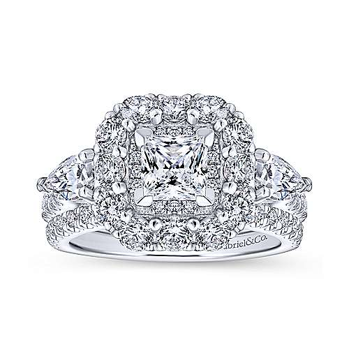 14K White Gold Princess Three Stone Halo Diamond Engagement Ring - designed by Jewelry Designers Gabriel & Co., New York. Passion, Love & You.