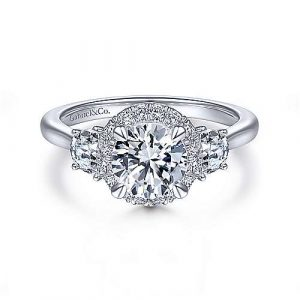 14K White Gold Round 3 Stone Halo Diamond Engagement Ring - designed by Jewelry Designers Gabriel & Co., New York. Passion, Love & You.