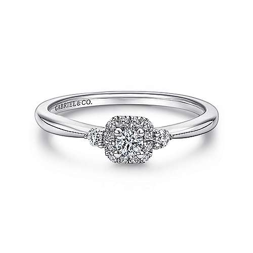 14K White Gold Round Complete Diamond Engagement Ring - designed by Jewelry Designers Gabriel & Co., New York. Passion, Love & You.