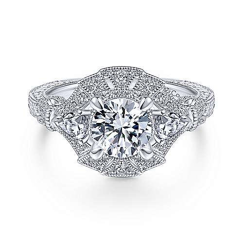 14K White Gold Round Diamond Engagement Ring - designed by Jewelry Designers Gabriel & Co., New York. Passion, Love & You.