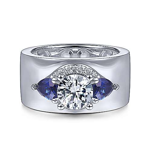 14K White Gold Round Sapphire and Diamond Engagement Ring - designed by Jewelry Designers Gabriel & Co., New York. Passion, Love & You.