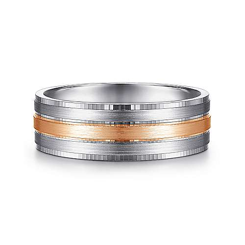 14K White-Rose Gold 7mm - Three Row Satin Mens Wedding Band - designed by Jewelry Designers Gabriel & Co., New York. Passion, Love & You.