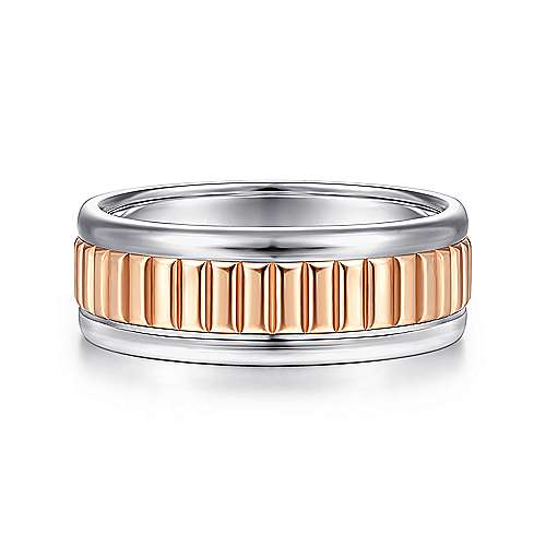 14K White-Rose Gold 8mm - Ridged Center Mens Wedding Band - designed by Jewelry Designers Gabriel & Co., New York. Passion, Love & You.