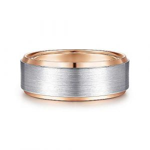 14K White-Rose Gold 8mm Satin Beveled Edge Mens Wedding Band - designed by Jewelry Designers Gabriel & Co., New York. Passion, Love & You.