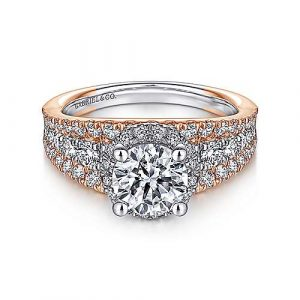 14K White-Rose Gold Round Halo Diamond Engagement Ring - designed by Jewelry Designers Gabriel & Co., New York. Passion, Love & You.
