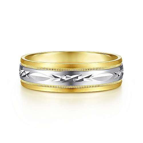 14K White-Yellow 6mm - Engraved Center and Millgrain Channel Mens Wedding Band - designed by Jewelry Designers Gabriel & Co., New York. Passion, Love & You.