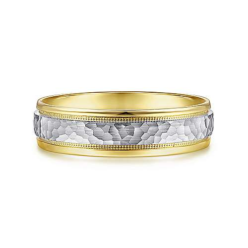 14K White-Yellow Gold 6mm - Hammered Center Milgrain Channel Mens Wedding Band - designed by Jewelry Designers Gabriel & Co., New York. Passion, Love & You.