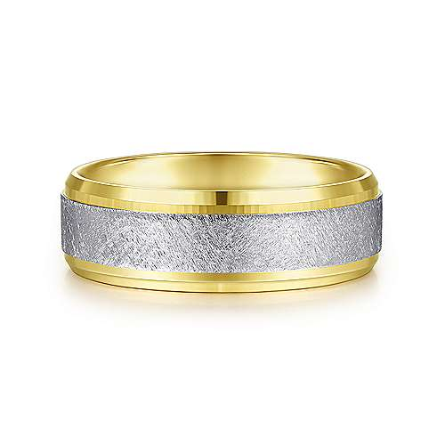 14K White-Yellow Gold 7mm - Diamond Brushed Beveled Edge Mens Wedding Band - designed by Jewelry Designers Gabriel & Co., New York. Passion, Love & You.