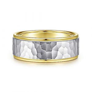 14K White-Yellow Gold 8mm - Hammered Center and Polished Edge Mens Wedding Band - designed by Jewelry Designers Gabriel & Co., New York. Passion, Love & You.