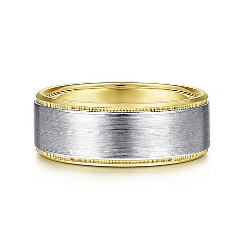 14K White-Yellow Gold 8mm - Satin Beveled Edge Mens Wedding Band - designed by Jewelry Designers Gabriel & Co., New York. Passion, Love & You.