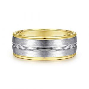 14K White-Yellow Gold 8mm - Satin Channel Mens Wedding Band - designed by Jewelry Designers Gabriel & Co., New York. Passion, Love & You.