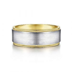 14K White-Yellow Gold 8mm - Satin Polished Edge Mens Wedding Band - designed by Jewelry Designers Gabriel & Co., New York. Passion, Love & You.
