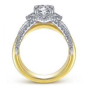 14K White-Yellow Gold Round Halo Diamond Engagement Ring - designed by Jewelry Designers Gabriel & Co., New York. Passion, Love & You.