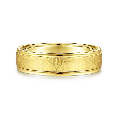 14K Yellow Gold 6mm - Sandblast Polished Edge Mens Wedding Band - designed by Jewelry Designers Gabriel & Co., New York. Passion, Love & You.