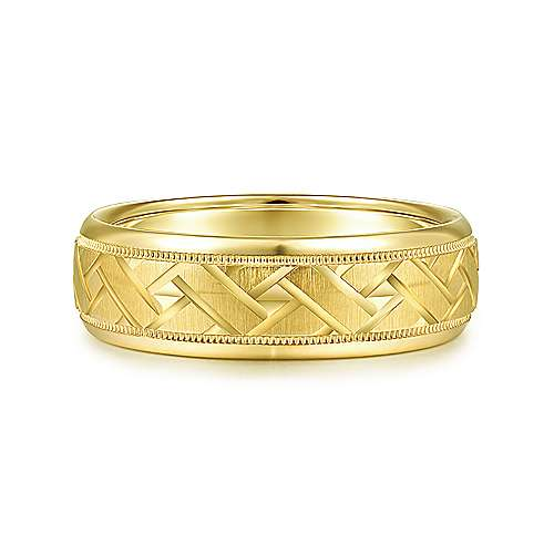 14K Yellow Gold 7mm - Engraved Woven Mens Wedding Band - designed by Jewelry Designers Gabriel & Co., New York. Passion, Love & You.