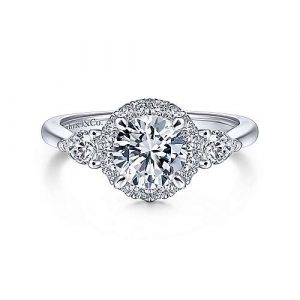 14k White Gold Round Halo Three Stone Diamond Engagement Ring - designed by Jewelry Designers Gabriel & Co., New York. Passion, Love & You.