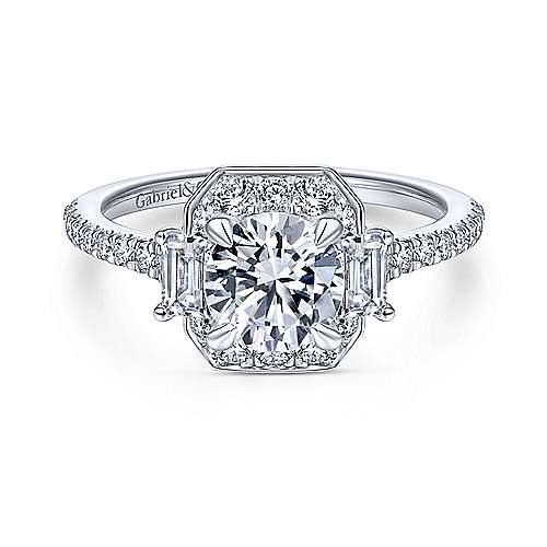 Art Deco 14K White Gold Fancy Halo Three Stone Round Diamond Engagement Ring - designed by Jewelry Designers Gabriel & Co., New York. Passion, Love & You.