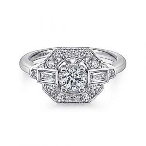 Art Deco 14K White Gold Octagonal Halo Round Diamond Engagement Ring - designed by Jewelry Designers Gabriel & Co., New York. Passion, Love & You.