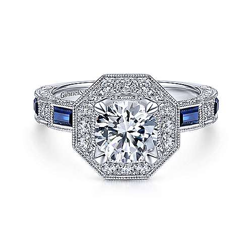 Art Deco 14K White Gold Octagonal Halo Round Sapphire and Diamond Engagement Ring - designed by Jewelry Designers Gabriel & Co., New York. Passion, Love & You.