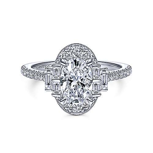 Art Deco 14K White Gold Oval Halo Diamond Engagement Ring - designed by Jewelry Designers Gabriel & Co., New York. Passion, Love & You.