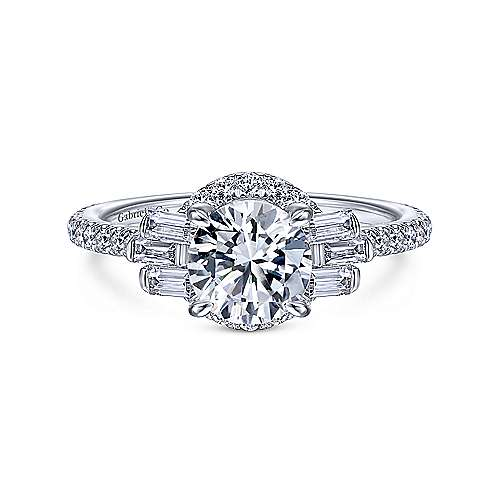 Art Deco 14K White Gold Round Halo Diamond Engagement Ring - designed by Jewelry Designers Gabriel & Co., New York. Passion, Love & You.
