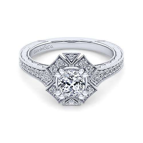Unique 14K White Gold Art Deco Cushion Cut Halo Diamond Engagement Ring - designed by Jewelry Designers Gabriel & Co., New York. Passion, Love & You.