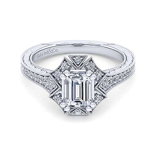 Unique 14K White Gold Art Deco Emerald Cut Halo Diamond Engagement Ring - designed by Jewelry Designers Gabriel & Co., New York. Passion, Love & You.