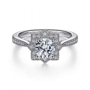 Unique 14K White Gold Vintage Inspired Halo Diamond Engagement Ring - designed by Jewelry Designers Gabriel & Co., New York. Passion, Love & You.