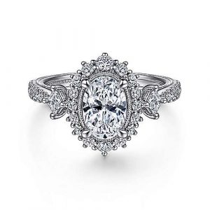 Vintage 14K White Gold Fancy Halo Oval Diamond Engagement Ring - designed by Jewelry Designers Gabriel & Co., New York. Passion, Love & You.