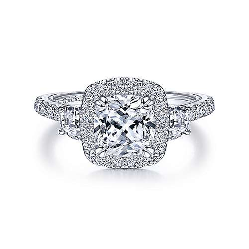 Vintage Inspired 14K White Gold Cushion Three Stone Halo Diamond Engagement Ring - designed by Jewelry Designers Gabriel & Co., New York. Passion, Love & You.
