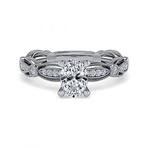Vintage Inspired 14K White Gold Oval Diamond Engagement Ring - designed by Jewelry Designers Gabriel & Co., New York. Passion, Love & You.