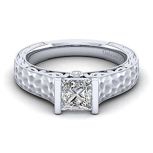 Vintage Inspired 14K White Gold Princess Cut Diamond Engagement Ring - designed by Jewelry Designers Gabriel & Co., New York. Passion, Love & You.