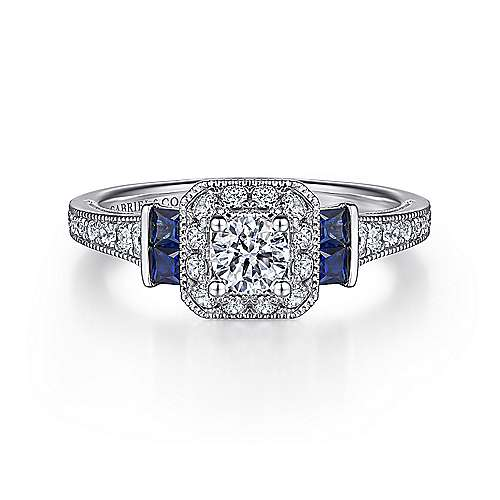Vintage Inspired 14K White Gold Round Halo Sapphire and Diamond Complete Engagement Ring - designed by Jewelry Designers Gabriel & Co., New York. Passion, Love & You.